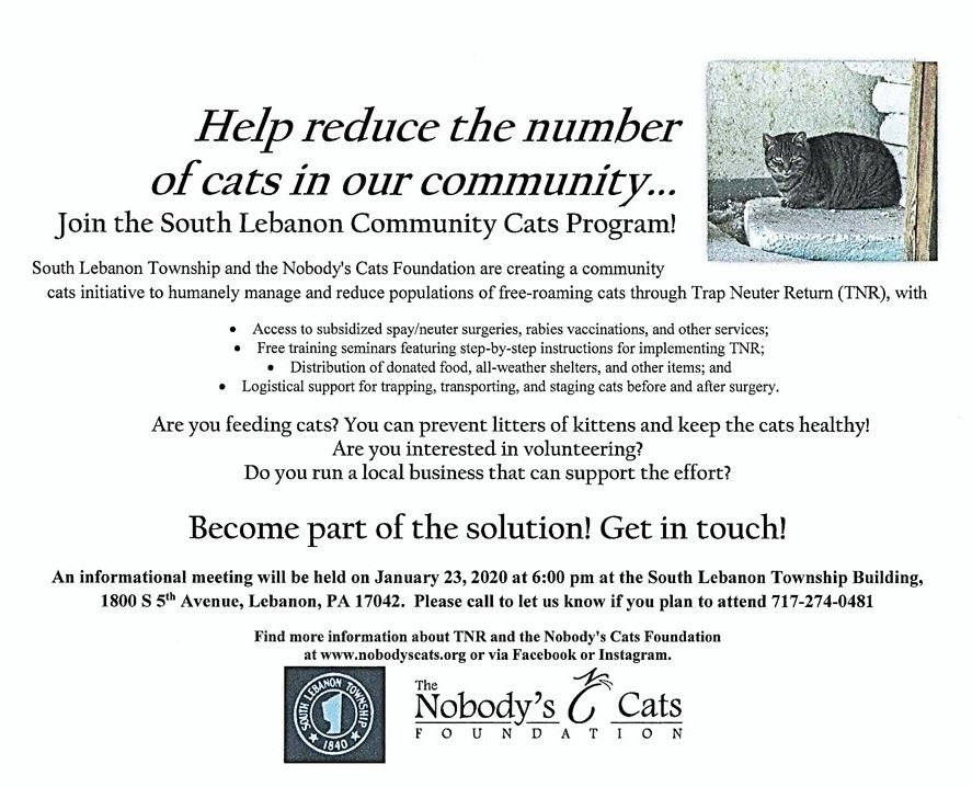 South Lebanon Community Cats Program meeting on January 23, 2020 at 6:00 p.m. at South Lebanon Township Building.
